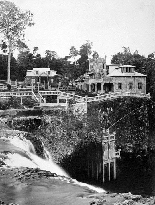 : Paronella Park from the top of Mena Creek Falls, Innisfail. (Paronella Park, Mena Creek Falls and Mena Creek Environmental Park, Mena Creek-Jappoon Road, Mena Creek.)Queensland, Australia,