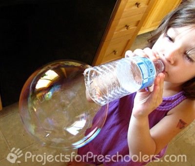 Another great craft that uses recycled plastic water bottles. This project makes bubbling blowing easier for little hands.