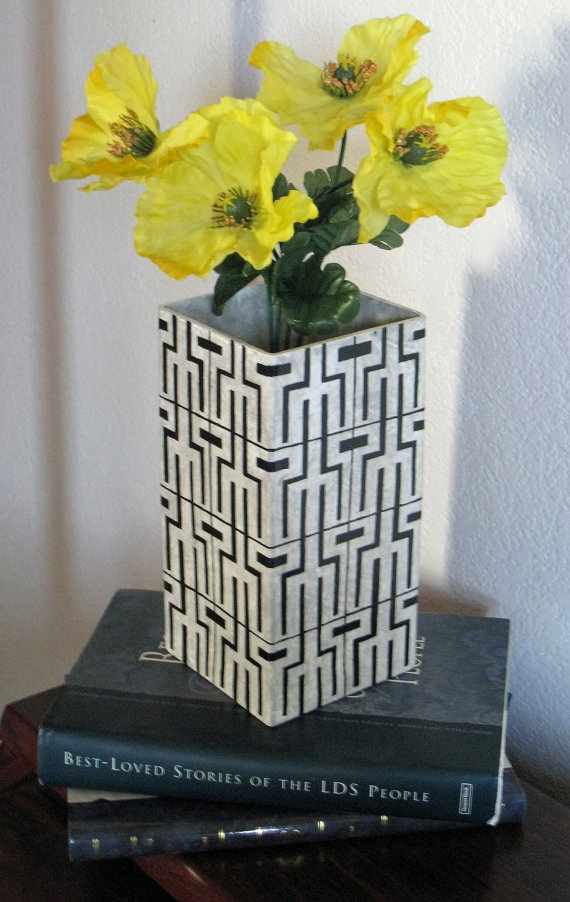 Faux Marble Vase with Hand Painted Black Hieroglyphic Inspired Design by Noelani's, $32.00