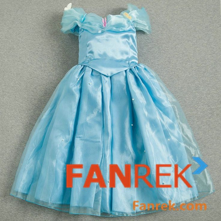 Disney Movie Cinderella 2015 Movie Cosplay Cinderella Kids Dress Costumes