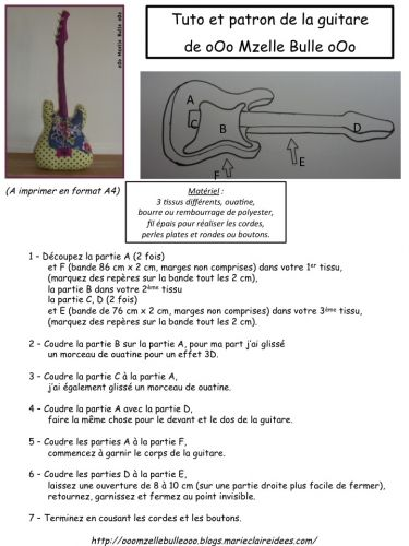 tuto, patron, guitare, Mzelle Bulle, tissu, couture, doudou, jouet,  sew, sewing, pattern, guitar, fabric, soft toys,