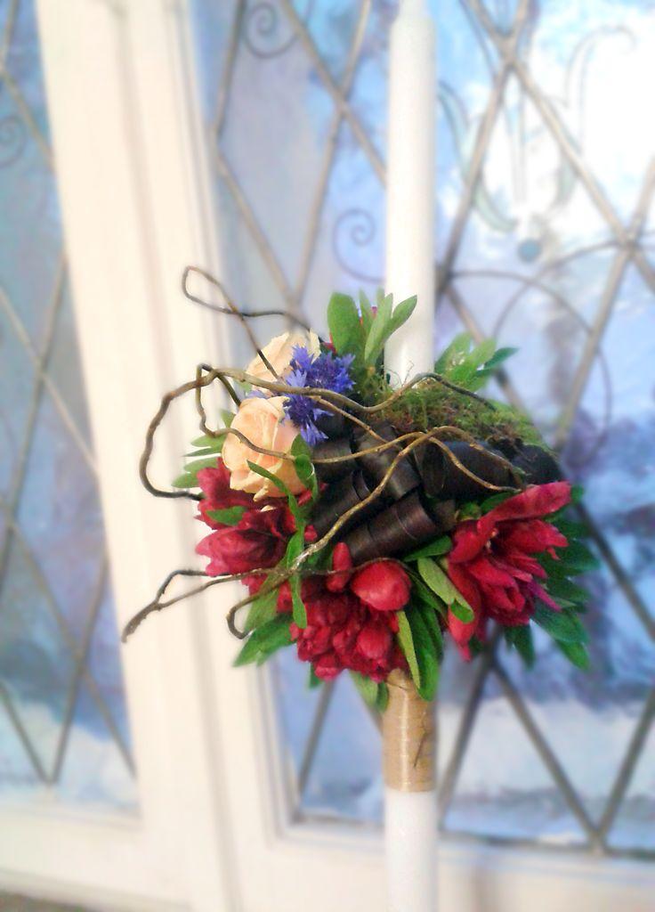 Wedding Candle Lumanare nunta, Peonies Roses