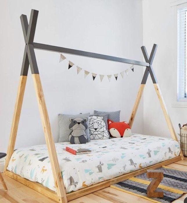 2mamabees Montessori Teepee Bed Montessori Teepee Bed Introduction By 2mamabees 2mamabees Bed Montessori Teepee In 2020 Teepee Bed Grey Bedding Kid Beds
