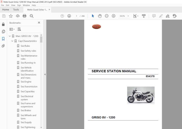 2008 2012 Moto Guzzi Griso 1200 8v Shop Manual Pdf Download Heydownloads Manual Downloads Moto Guzzi Manual Brake Calipers