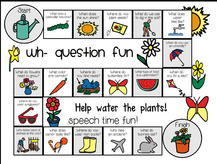 Speech Time Fun: Wh Question Board Game-SPRING ((Freebie)). Pinned by SOS Inc. Resources. Follow all our boards at pinterest.com/sostherapy for therapy resources.
