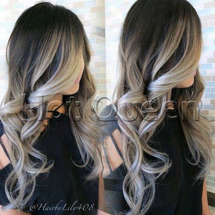 Details about Ombre Grey Virgin Human Hair Wig Balayage Full Lace Wig Lace Front Wig 16″-24″