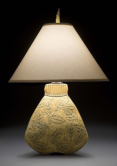 3 sided bulbous lamp by jim and shirl parmentier ceramic table lamp
