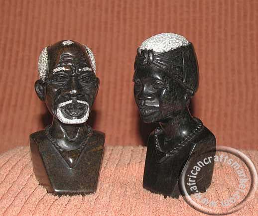 African Stone carved Shona couple