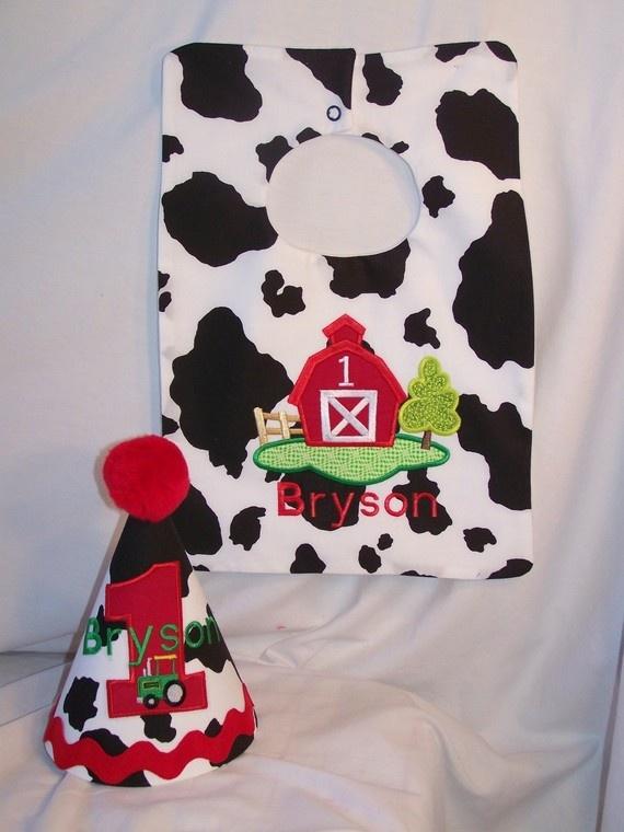 Custom Embroidered Cowboy Western Farm Barn Tractor First Birthday Hat And Bib 3300 Via Etsy