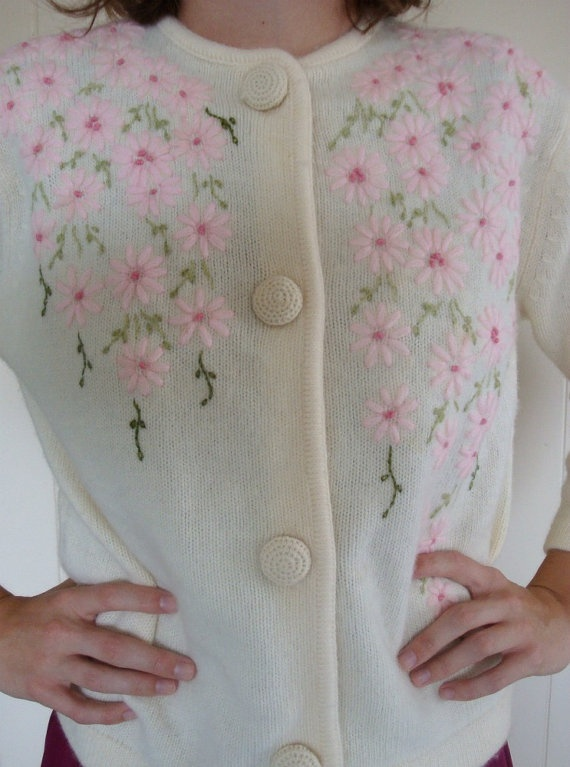 Spring 1950s cardigan cream embroidered by Maliascloset on Etsy, $28.00