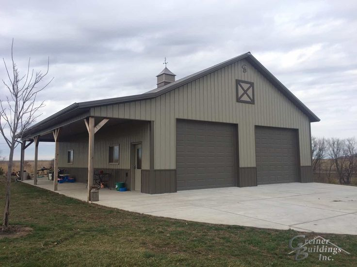 30' wide x 40' long x 12' tall Metal Garage Workshop with a side porch area (12x40x9)'.GB