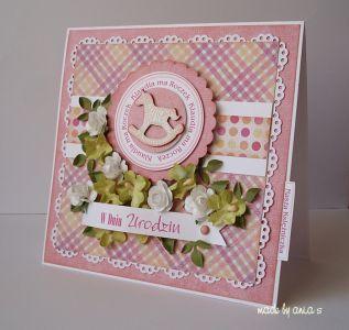 Kartka na roczek  - Kartki Dziecięce - Kartki - Scrapbooking