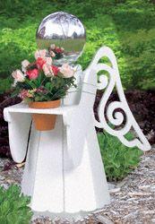 wooden garden angel | ... Woodworking Plans - Medium Angel Gazing Ball Holder Wood Pattern
