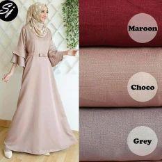 Baju Original Anjani Gamis Wolfice Gaun Pesta Panjang Baju Hijab Terusan Pengajian Wanita Muslimah Warna Grey