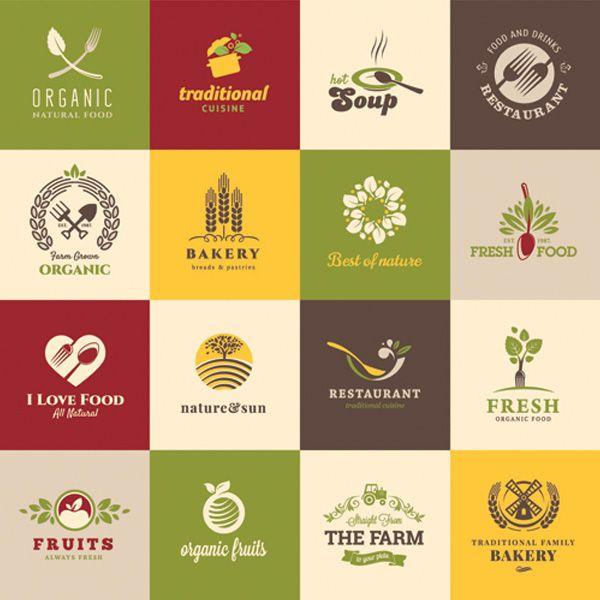 Organic Natural Restaurant Food Logos Set - http://www.welovesolo.com/organic-natural-restaurant-food-logos-set/