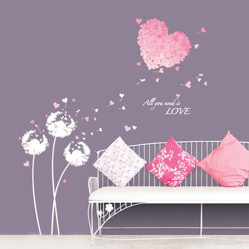 Wall Decal - Dandelion hearts for baby girl's room.
