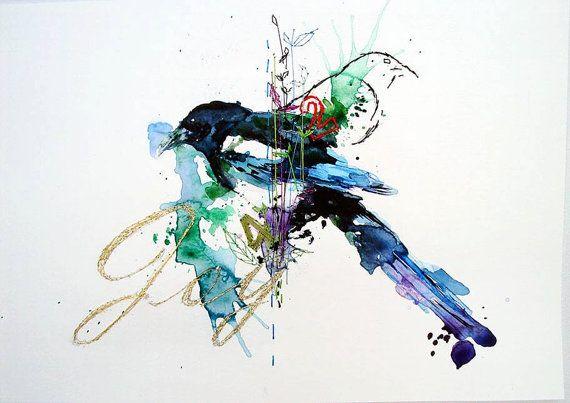 Magpie watercolour painting. JOY Original Unique by mimilove