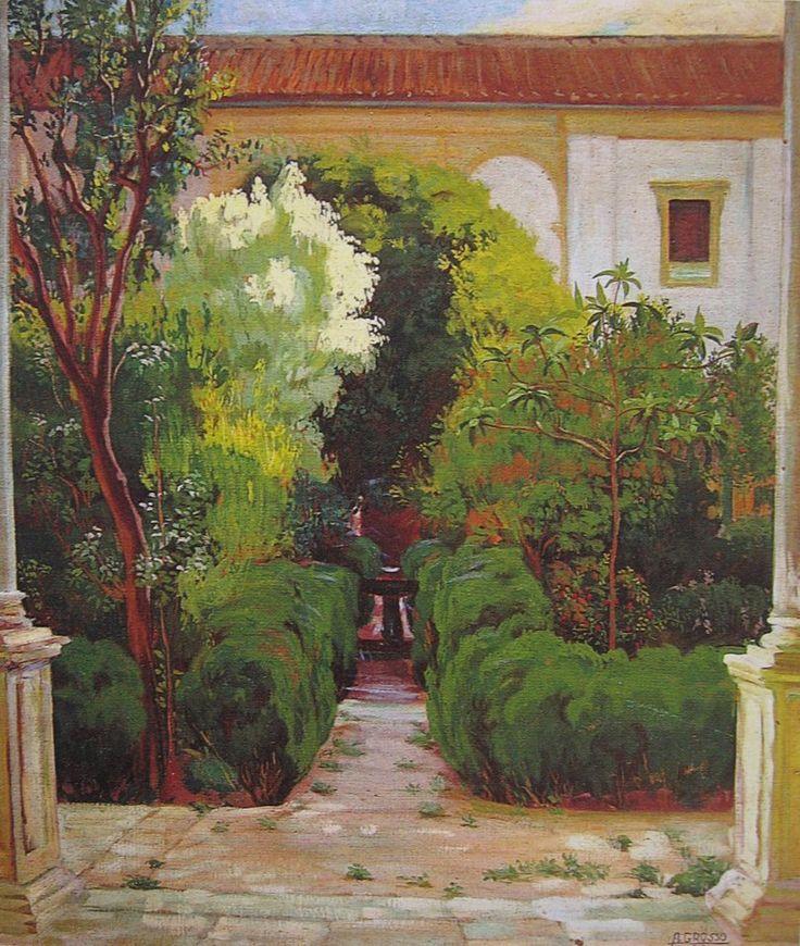 Jardín de la Casa Pilatos y Patio principal del Museo de BB.AA. de Sevilla. 1913. Obra de Alfonso Grosso Sánchez