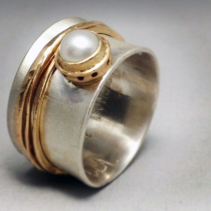 Sterling silver, 14K gold, pearl by Ginger Meek Allen ~ Love!