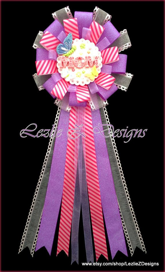 butterfly mom to be baby shower corsage pin purple hot pink mommy to be clay