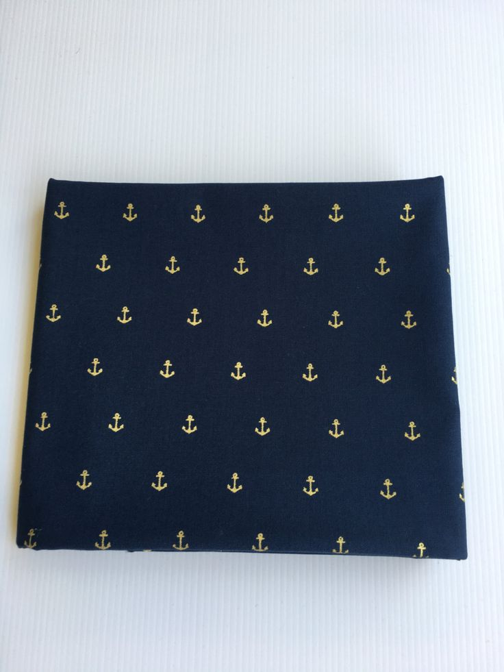 Gold Anchors on Navy Fabric by SweetpeaAndLime on Etsy