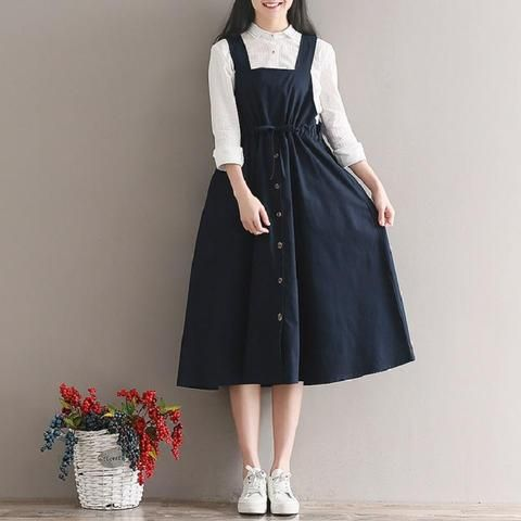 2018 Spring Summer Women Sleeveless Vintage Dress Navy Blue Cotton Linen Casual Loose Vestidos Spaghetti Strap Female Dress 2XL
