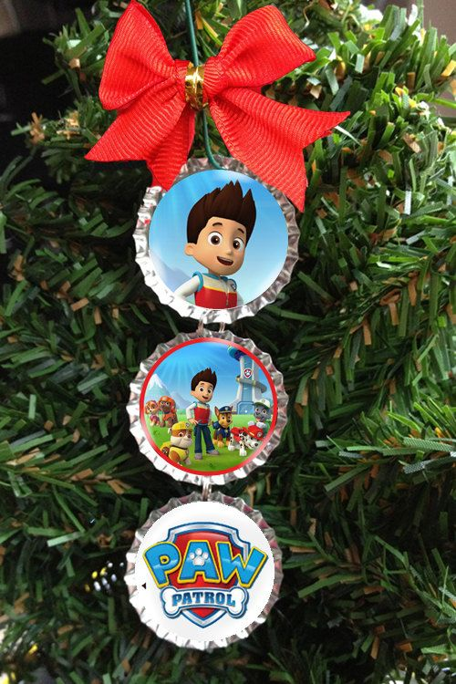 Paw Patrol Christmas Tree Ornament Bottle Cap Holiday