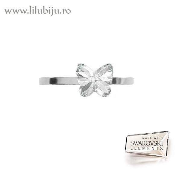 Inel argint cu Swarovski Elements™ fluture transparent by LiluBiju (copyright) http://www.lilubiju.ro/ocart/index.php?route=product/product&path=20_116&product_id=454