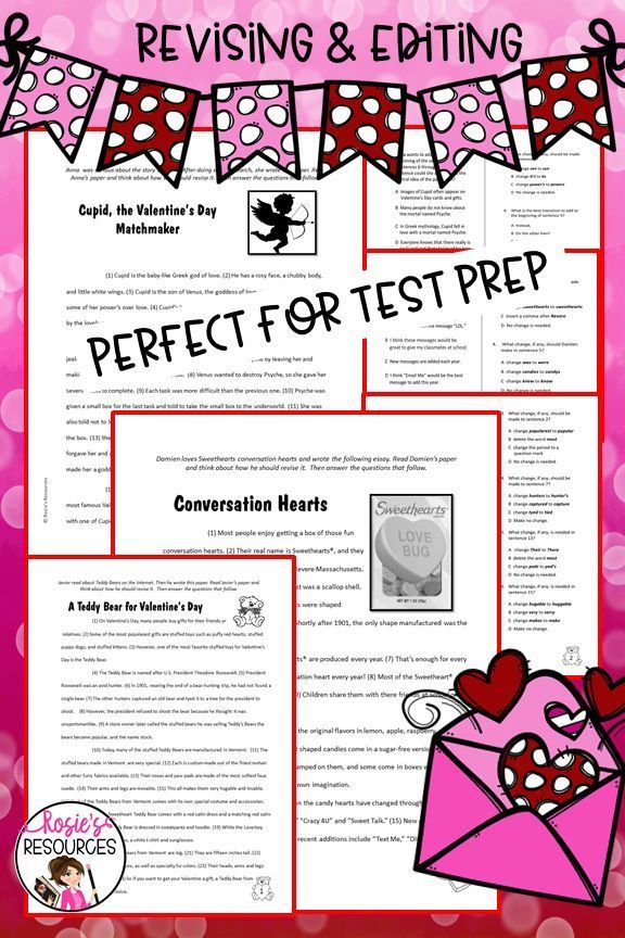 Valentine S Day Revising And Editing Elementary Express