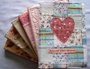 quilted fabric journals by Tilly Rose (3/4 of the way down, once in the link)