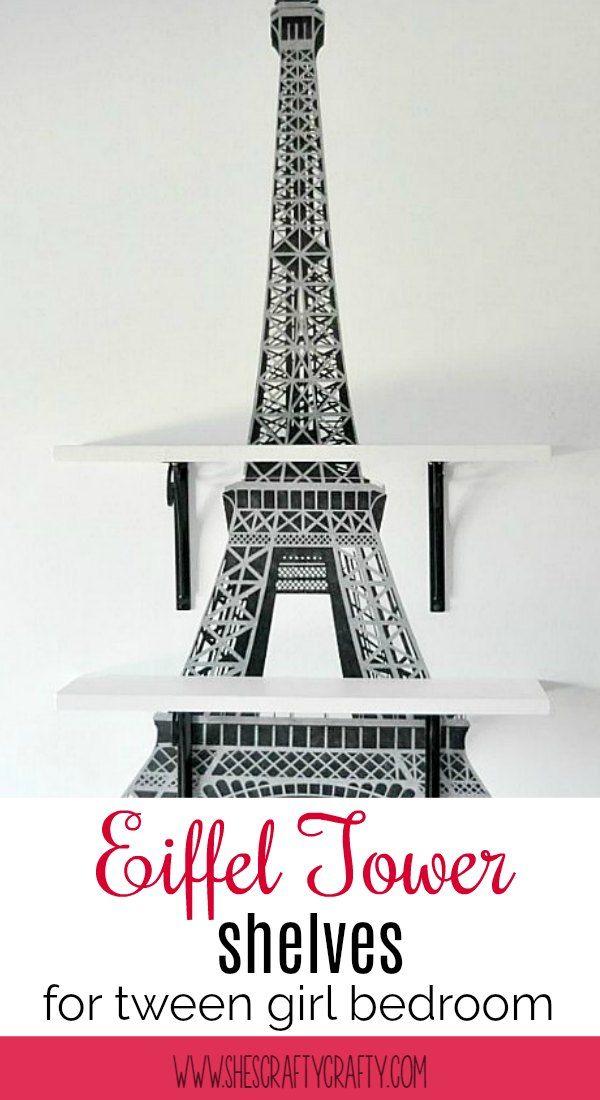 Girl Bedroom ideas:  Eiffel Tower shelves, paris themed tween girl room, paris themed teen girl room