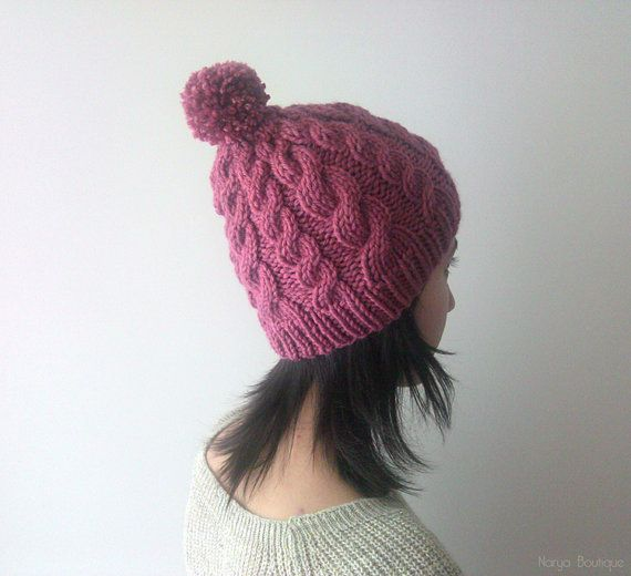 Chunky Cable Beanie in Light Dry Rose Knit Hat with Pom Pom