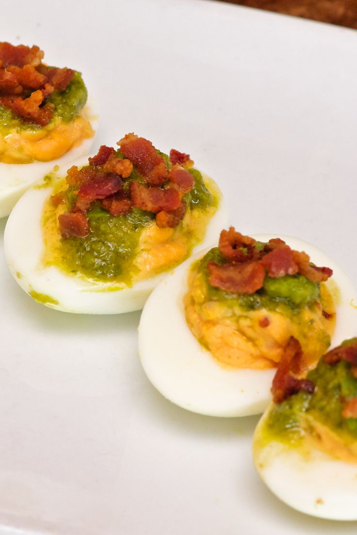 Green Eggs and Ham: spicy deviled eggs, green chile salsa, bacon from ...