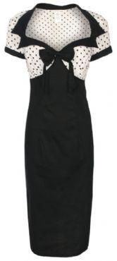 CHIC VINTAGE 1950's STYLE BLACK + POLKA DOT PENCIL WIGGLE DRESS         Blij er mee! Zit super lekker!