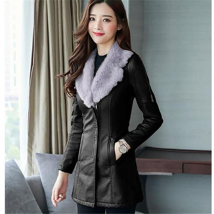 Women's Jacket PU Leather Medium Style Fur Collar Thick Warm Plus Size for Winter Women's Jacket PU Leather Medium Style Fur Collar Thick Warm Plus Size for Winter