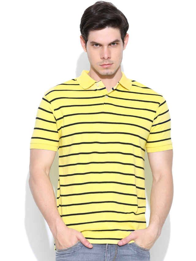 Dream of Glory Inc. Yellow Striped Polo T-shirt