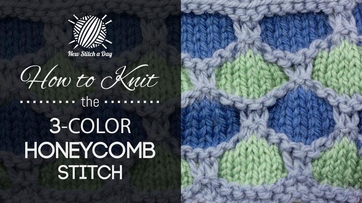 How to Knit the 3 Color Honeycomb Stitch/This stitch creates a multiple colors design, and would be great for baby blankets, blankets, and headbands!