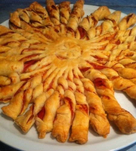 tortillons, pâte feuilletée, soleil, jambon, emmental