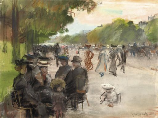 Elegant Parisians Along an allée in the Bois de Boulogne - Isaac IsraelsDutch 1865-1934Charcoal and pastel on paper