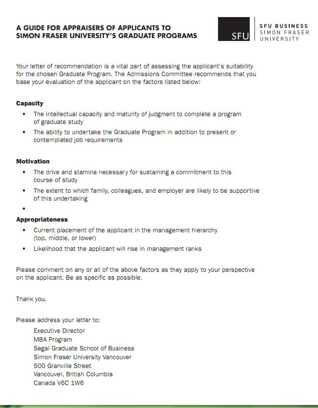 SFU Business School official guide for applicant appraisals (by - recoommendation letter guide