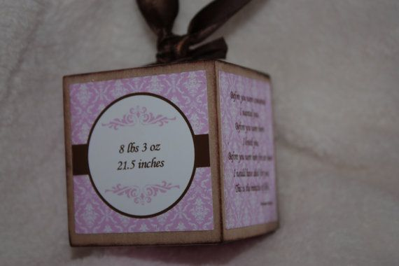 Baby Birth Announcement wooden block keepsake ornament - personalized      T2010