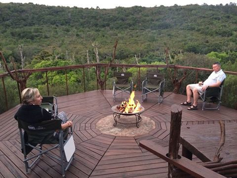 The new fire-pit with its view across the lush valley at Sibuya Bush Lodge is proving very popular with guests. Kenton on Sea, Eastern Cape, South Africa www.sibuya.co.za