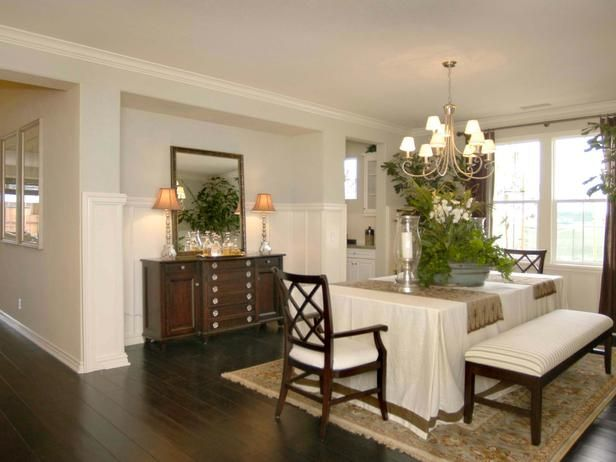 This Formal Dining Room Boasts An Understated Elegance Bench Seating At The Table Gives A Clean Look While Recessed Wall Makes Space For