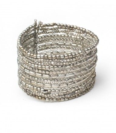 This beautiful silver beaded cuff, is perfect to slip on your wrist... and work from day to night!