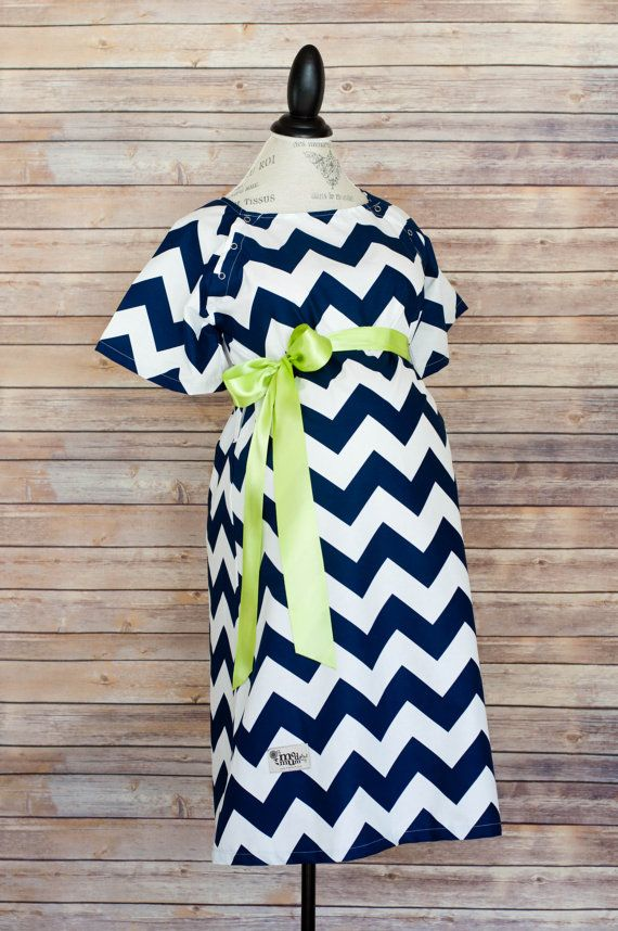 Maternity Hospital Delivery Gown in Navy Chevron -Super Soft Fabric -Perfect Snaps for Breastfeeding & Skin to Skin -Snaps down the back