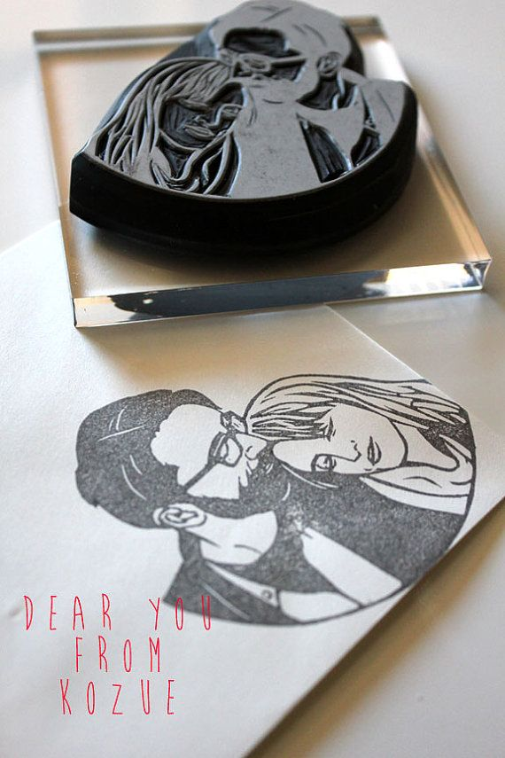 Couple portrait hand carved rubber stamp - will be perfect for invitations, thank you note etc..