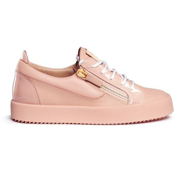 Giuseppe Zanotti Design 'Nicki' double zip leather sneakers ($720) ❤ liked on Polyvore featuring shoes, sneakers, pink, leather sneakers, leather trainers, pink sneakers, leather footwear and giuseppe zanotti trainers