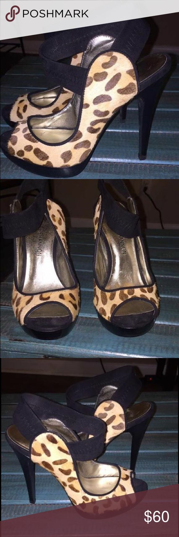 Michael Shannon Leopard Heels Size 7 .. worn 3 times Michael Shannon Shoes Heels