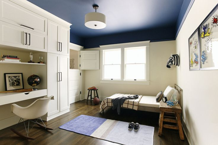Love the navy blue against the white paneling