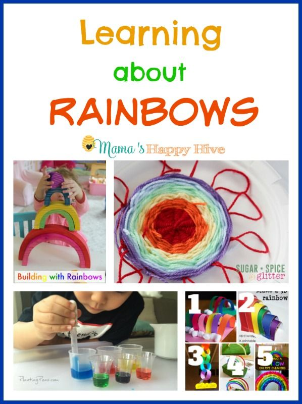Learning about rainbows is so much fun for kids! This collection includes 25 plus rainbow activities, building with rainbows, weaving rainbow art, color mixing, 3d rainbow crafts, and a Montessori inspired rainbow unit for toddlers. Features for this Week ~ 24+ Rainbow Activities for Kids – Natural Beach Living DIY Paper Plate Loom Rainbow Yarn …